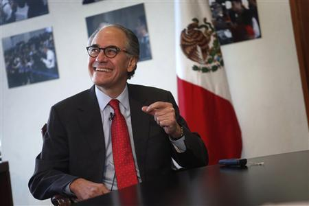 Herminio Blanco, Mexican candidate to head the World Trade Organization (WTO), smiles during an interview with Reuters in Mexico City February 13, 2013. Global trade talks are in crisis and private companies in the United States urgently need to pressure their government back to the negotiating table, Blanco said on Wednesday. Blanco, a former Mexican trade minister who led negotiations to create the North American Free Trade Agreement, insists it is vital to revive the stalled Doha round of trade talks. REUTERS/Edgard Garrido