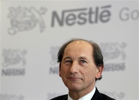 Nestle Chief Executive Officer Paul Bulcke pauses during the annual results news conference at the company headquarters in Vevey February 14, 2013. REUTERS/Denis Balibouse