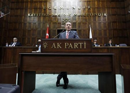 Turkey's Prime Minister Tayyip Erdogan addresses members of parliament from his ruling AK Party (AKP) during a meeting at the Turkish parliament in Ankara January 5, 2010. REUTERS/Umit Bektas