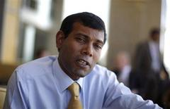 Maldives' President Mohamed Nasheed speaks during an interview with Reuters at the Commonwealth Heads of Government Meeting (CHOGM) in Port-of-Spain November 28, 2009. REUTERS/Carlos Barria