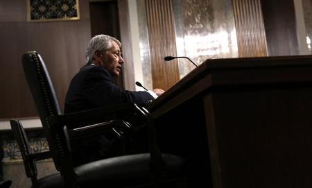 Former U.S. Senator Chuck Hagel (R-NE) testifies during a Senate Armed Services Committee hearing on his nomination to be Defense Secretary, on Capitol Hill in Washington, January 31, 2013. REUTERS/Kevin Lamarque)