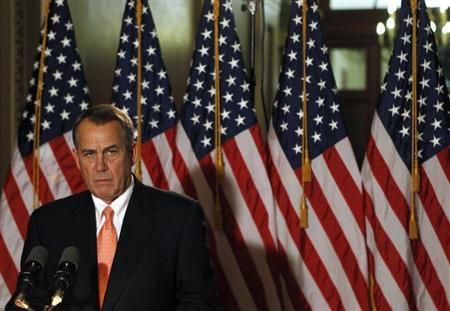 House Speaker John Boehner makes a brief statement to the media at the Capitol in Washington December 19, 2012. REUTERS/Gary Cameron