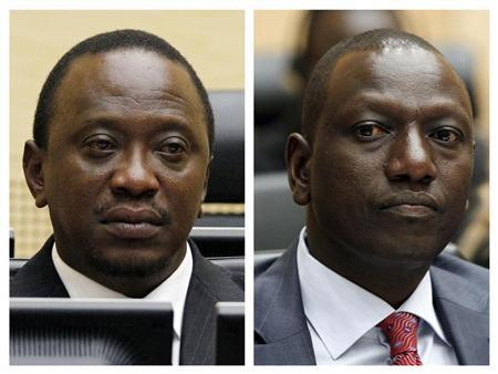 Combination picture shows Kenya's then-finance minister Uhuru Kenyatta and Kenya's former Higher Education Minister William Ruto at the International Criminal Court (ICC) in The Hague in these April 8, 2011 (L) and September 1, 2011 file photos. REUTERS/Bas Czerwinski/Pool/Files