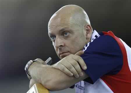 Team Britain cycling performance director David Brailsford attends the UCI Track Cycling World Cup at the Olympic Velodrome in London February 18, 2012. REUTERS/Eddie Keogh