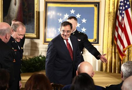 Retiring Defense Secretary Leon Panetta arrives to attend a ceremony where U.S. President Barack Obama presents the Medal of Honor to former active duty Army Staff Sergeant Clinton Romesha in the East Room of the White House in Washington February 11, 2013. REUTERS/Jason Reed