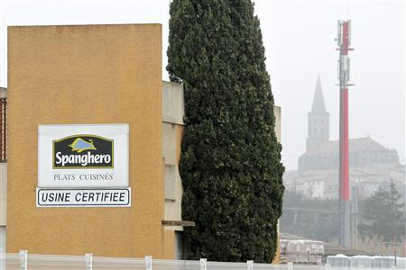 A sign with the Spanghero logo is seen at their head office in Castelnaudary, Southwestern France, February 14, 2013. An initial French investigation reported that horsemeat, which originated from a Romanian slaughterhouse, and transited through supplier Spanghero, ended up in a Luxembourg factory run by Comigel that produced food products labelled as beef meat. A French newspaper reported that Spanghero was billed for 42 tonnes in January 2013 for low grade horsemeat, which contradicts the firm's claim to have never knowingly bought or sold the meat. REUTERS/Jean-Philippe Arles
