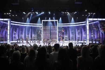 Contestants take the stage during the 2011 Miss America Pageant in the Theatre for the Performing Arts at the Planet Hollywood Resort and Casino in Las Vegas, Nevada, January 15, 2011. REUTERS/Steve Marcus