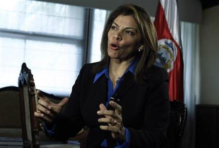 Costa Rica's President Laura Chinchilla speaks during an interview with Reuters at the Presidential House in San Jose, February 14, 2013. REUTERS/Juan Carlos Ulate