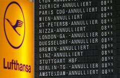 A flight schedule board showing cancelled flights of German air carrier Lufthansa is pictured at the Fraport airport in Frankfurt, September 7, 2012. REUTERS/Kai Pfaffenbach