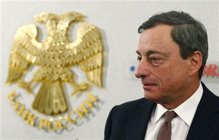 European Central Bank President Mario Draghi arrives for a news conference in Moscow February 15, 2013. REUTERS/Grigory Dukor