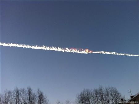 The trail of a falling object is seen above the Urals city of Chelyabinsk February 15, 2013, in this picture provided by www.chelyabinsk.ru. About 400 people were injured when a meteorite shot across the sky in central Russia on Friday sending fireballs crashing to Earth, smashing windows and setting off car alarms. REUTERS/www.chelyabinsk.ru/Handout