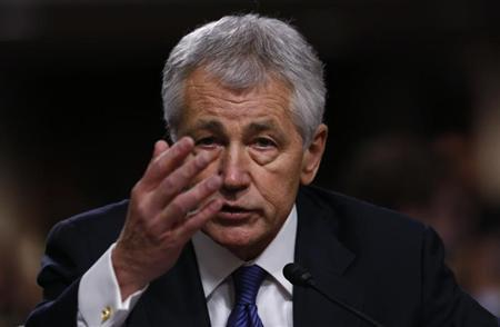 Former U.S. Senator Chuck Hagel (R-NE) testifies during a Senate Armed Services Committee hearing on his nomination to be Defense Secretary, on Capitol Hill in Washington, January 31, 2013. REUTERS/Kevin Lamarque (UNITED STATES - Tags: POLITICS MILITARY HEADSHOT) - RTR3D73M