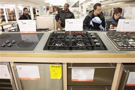 Shoppers look at appliances at a Home Depot store in New York in this file image from December 23, 2009. REUTERS/Lucas Jackson/Files