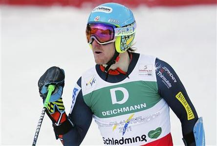 Ted Ligety of the U.S. reacts after the first run of the men's Giant Slalom race at the World Alpine Skiing Championships in Schladming February 15, 2013. REUTERS/Leonhard Foeger