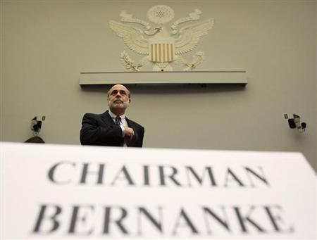 File photo of U.S. Federal Reserve Chairman Ben Bernanke arriving to testify before a House Financial Services hearing on the ''Monetary Policy and the State of the Economy'' on Capitol Hill in Washington, July 22, 2010. REUTERS/Jim Young RTR2GMNO