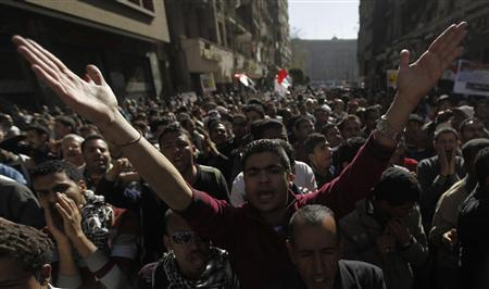 Protesters shout slogans against Egyptian President Mohamed Mursi and members of the Muslim Brotherhood at Tahrir Square in Cairo February 15, 2013. REUTERS/Amr Abdallah Dalsh