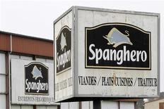 Signs with the Spanghero logo are seen at their head office in Castelnaudary, Southwestern France, February 14, 2013. REUTERS/Jean-Philippe Arles