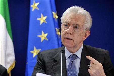 Italy's Prime Minister Mario Monti speaks during a news conference at the end of an European Union leaders summit meeting to discuss the European Union's long-term budget in Brussels February 8, 2013. REUTERS/Eric Vidal