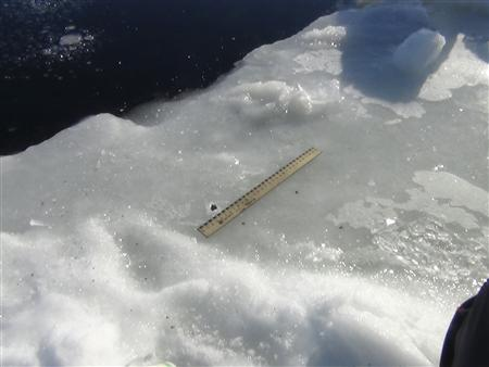 A ruler is used to examine fragments said by the Interior Ministry department for Chelyabinsk region to be from a meteor, near an ice hole on lake Chebarkul some 80 kilometers (50 miles) west of Chelyabinsk February 15, 2013. REUTERS/Chelyabinsk region Interior Ministry/Handout
