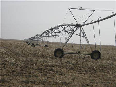 Irrigation units are pictured in southwest Kansas near Dodge City, Kansas, November 26, 2012. Residents of the Great Plains over the last year or so have experienced storms reminiscent of the 1930s Dust Bowl. Experts say the new storms have been brought on by a combination of historic drought, a dwindling Ogallala Aquifer underground water supply, climate change and government farm programs. Picture taken November 26. REUTERS/Kevin Murphy