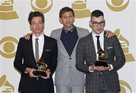 Members of the band Fun pose with their awards for Song of the Year ''We Are Young'' and Best New Artist, backstage at the 55th annual Grammy Awards in Los Angeles, California February 10, 2013. REUTERS/Mario Anzuoni