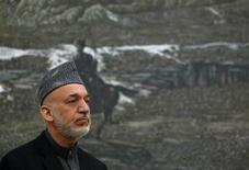 Afghan President Hamid Karzai speaks during a news conference in Kabul January 14, 2013. REUTERS/Omar Sobhani (AFGHANISTAN - Tags: MILITARY POLITICS HEADSHOT)