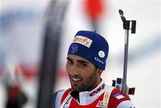 L'équipe de France masculine de relais a décroché samedi la médaille d'argent aux championnats du monde de biathlon grâce au finish époustouflant de Martin Fourcade, à Nove Mesto en République tchèque. /Photo prise le 16 février 2013/REUTERS/Petr Josek