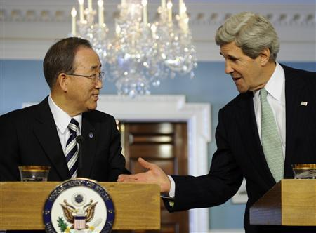 U.S. Secretary of State John Kerry (R) gestures to UN Secretary General Ban Ki-moon as they make remarks to the media before their bilateral meeting at the State Department in Washington February 14, 2013. REUTERS/Mike Theiler