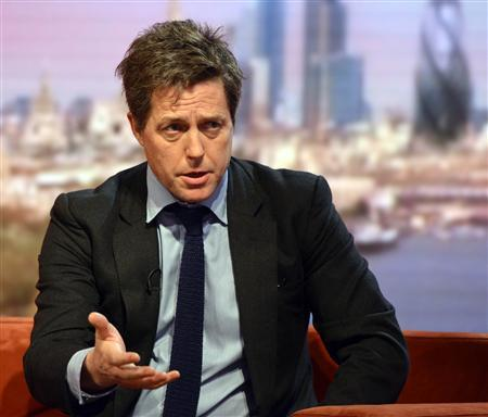 Actor Hugh Grant speaks on the BBC's Andrew Marr Show in London December 2, 2012. REUTERS/Jeff Overs/BBC/Handout