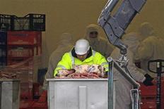 Dans l'usine Spanghero de Castelnaudary, dans l'Aude, vendredi. Les ministres de l'Agriculture et de la Consommation, Stéphane Le Foll et Benoît Hamon, se préoccupent du sort des 300 salariés de cette entreprise et recevront lundi en fin d'après-midi les représentants du personnel et les syndicats concernés. /Photo prise le 15 février 2013/REUTERS/Jean-Philippe Arles