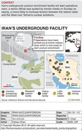 NUCLEAR-IRAN/FORDOW - Map of Iran locating the site of a suspected bunker that Iran may be moving its uranium enrichment facilities. RNGS.