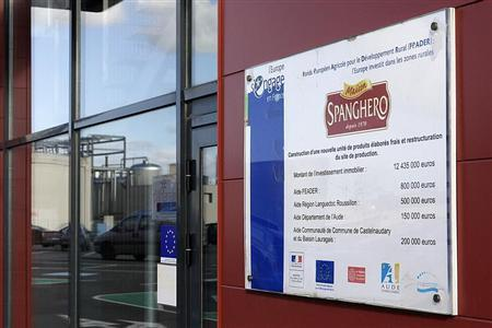 A sign with the Spanghero logo is seen at their head office in Castelnaudary, Southwestern France, February 15, 2013. REUTERS/Jean-Philippe Arles