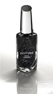 A bottle of nail polish by Azature, containing small, full cut diamonds, is shown in this handout photo released by Azature to Reuters February 17, 2013. Hollywood stars wanting to look their best for the 85th Academy Awards, Tinseltown's biggest night of the year, are being offered beauty treatments ranging from the lavish to plain loony such as $250,000 black diamond nail varnish and bird excrement facials. Los Angeles' luxury jewelry designer Azature Pogosian, who goes by the single name Azature, has created a black nail polish containing small, full cut diamonds that he said ''add a three dimensional sparkle'' when applied on the nail. REUTERS/Azature/Handout