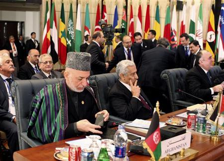 Afghan President Hamid Karzai (L) attends the Organisation of Islamic Cooperation (OIC) summit in Cairo February 6, 2013. REUTERS/Asmaa Waguih