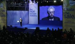 Italy's outgoing Prime Minister Mario Monti speaks during a meeting in Rome February 15, 2013. REUTERS/ Tony Gentile (ITALY - Tags: POLITICS)