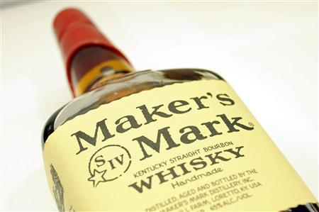 A bottle of Maker's Mark whiskey is pictured in New York May 9, 2012. REUTERS/Keith Bedford