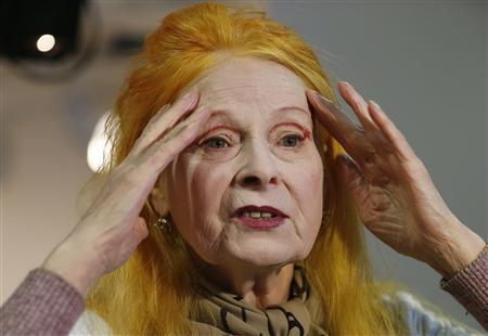 Designer Vivienne Westwood talks to Reuters during an interview before the presentation of her Vivienne Westwood Red Label Autumn/Winter 2013 collection during London Fashion Week, February 17, 2013. REUTERS/Suzanne Plunkett