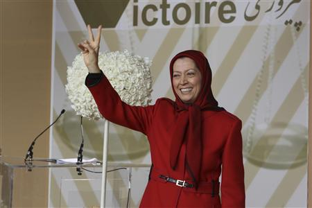 Maryam Rajavi, who heads the Paris-based National Council of Resistance of Iran (NCRI), waves to supporters of exiled Iranians in Auvers-sur-Oise, near Paris, September 29, 2012. REUTERS/NCRI/Handout