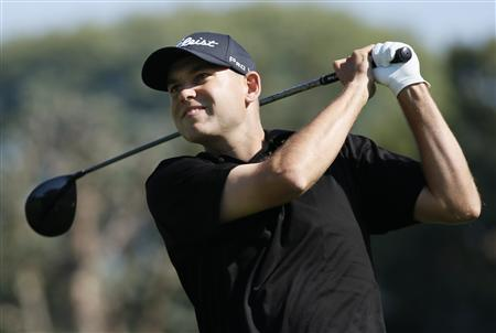 Bill Haas of the U.S. tees off on the second hole during the final round of the Northern Trust Open golf tournament at Riviera Country Club in Los Angeles February 17, 2013. REUTERS/Danny Moloshok
