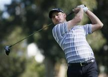 John Merrick of the U.S. tees off on the second hole during the final round of the Northern Trust Open golf tournament at Riviera Country Club in Los Angeles February 17, 2013. REUTERS/Danny Moloshok