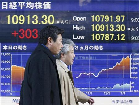 Men walk past a stock index board outside a brokerage in Tokyo January 18, 2013. REUTERS/Kim Kyung-Hoon