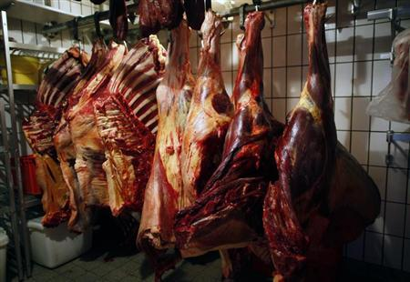 Horsemeat is seen at a horse butchery in Dortmund February 14, 2013. Horsemeat is traditionally prized by many consumers in EU countries. REUTERS/Ina Fassbender