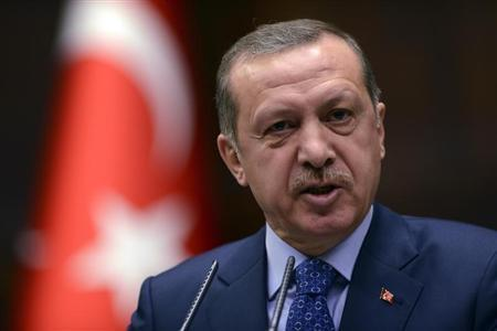 Turkey's Prime Minister Tayyip Erdogan addresses members of parliament from his ruling AK Party (AKP) during a meeting at the Turkish parliament in Ankara February 12, 2013. REUTERS/Stringer