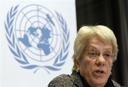 Member of the Commission of Inquiry on Syria Carla del Ponte addresses a news conference at the United Nations European headquarters in Geneva February 18, 2013. Syrians in 'leadership positions' who may be responsible for war crimes have been identified, along with units accused of perpetrating them, United Nations investigators said on Monday. REUTERS/Denis Balibouse