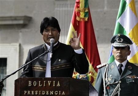 Bolivia's President Evo Morales speaks during a ceremony at the Murillo square in La Paz February 14, 2013. REUTERS/David Mercado