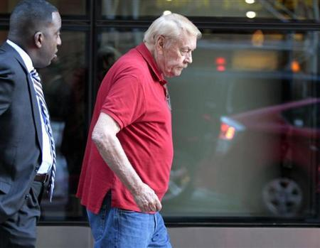 File photo of Los Angeles Lakers owner Jerry Buss leaving after NBA labor meetings in New York October 4, 2011. REUTERS/Brendan McDermid