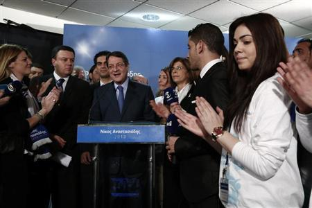 Cyprus Presidential candidate Nicos Anastasiades of the right wing Democratic Rally party makes statements at the party's polling station in Nicosia February 17, 2013. REUTERS/Yorgos Karahalis