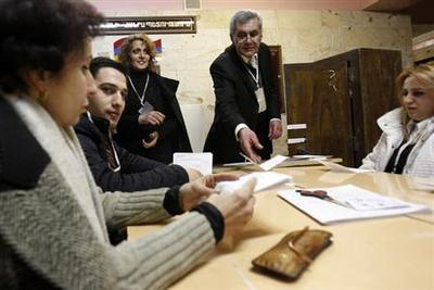 Armenian president wins re-election, exit poll shows