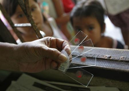 A Ministry of Public Health official holds blood test slides taken from children, who live in the Thai-Myanmar border, at a malaria clinic in the Sai Yoke district, Kanchanaburi Province October 26, 2012. REUTERS/Sukree Sukplang/Files