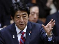 Japan's Prime Minister Shinzo Abe speaks during an upper house budget committee session at the parliament in Tokyo February 18, 2013. REUTERS/Yuya Shino